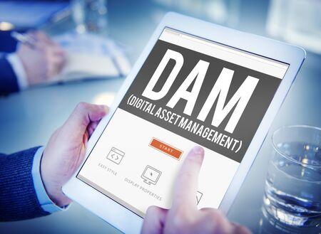 digital asset management: DAM Digital Asset Management Organization Concept Stock Photo