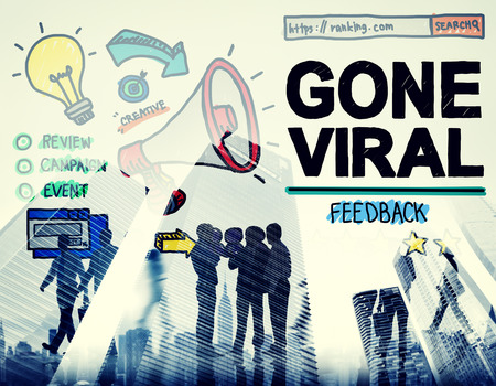 gone: Gone Viral Popular Famous Share Post Concept Stock Photo