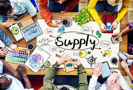work team: Supply Stock Marketing Logistic Distribution Business Concept