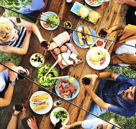 recreational pursuits: Friends Friendship Outdoor Dining People Concept Stock Photo