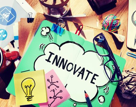 no idea: Innovate Innovation Ideas Inspiration Invention Concept Stock Photo