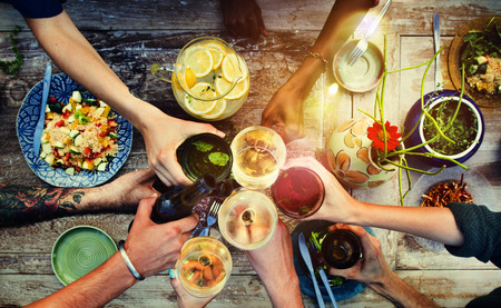 prepared food: Food Table Healthy Delicious Organic Meal Concept Stock Photo