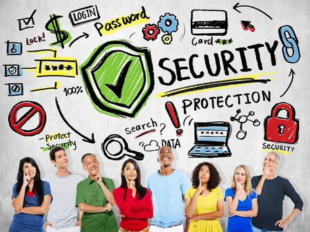 data protection: Ethnicity People Imagination Security Protection Password Concept Stock Photo
