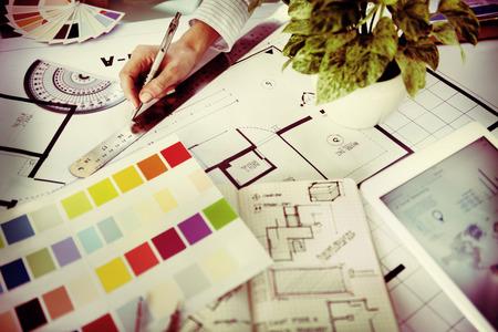 디자이너 작업 프로젝트 계획 크리 에이 티브 개념