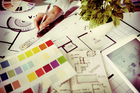 arquitecto: Dise�ador de Trabajo Proyecto de Planificaci�n Concepto Creativo Foto de archivo