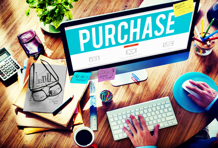 buying a home: Purchase Retail Commerce Marketing Concept Stock Photo