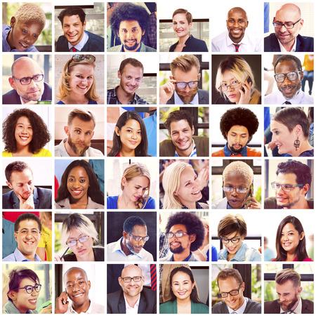 gesicht: Collage Diverse Faces Gruppe Persönlichkeit Konzept Lizenzfreie Bilder