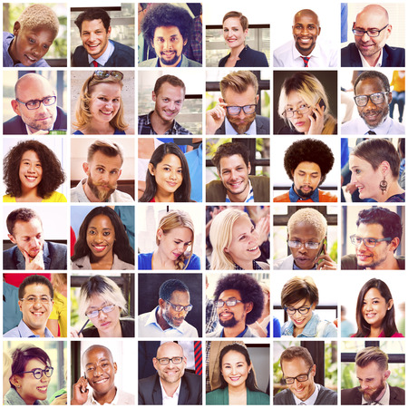 Koláž Různé tváře Skupina lidí Concept Reklamní fotografie