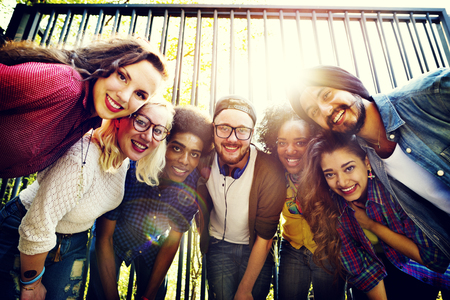 college students: Bonding Community Friends Team Togetherness Unity Concept