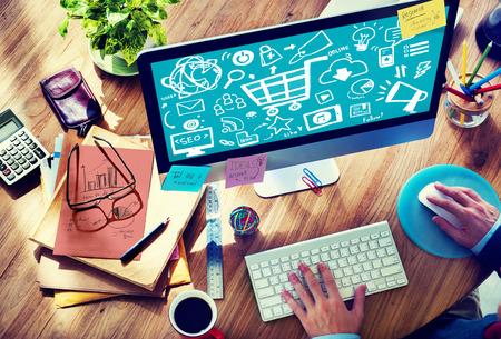 Online Marketing Strategy Branding Commerce Advertising Concept Archivio Fotografico