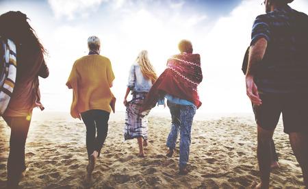 Friendship Bonding Relaxation Summer Beach Happiness Concept 스톡 콘텐츠