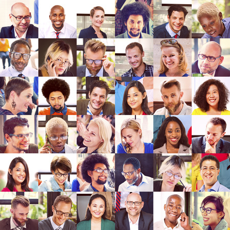 Collage Diverse Faces Group People Concept Stock Photo