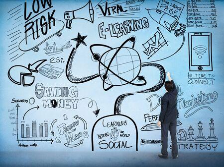 aprendizaje: Educación Sketch Dibujo Doodle Concept E-learning