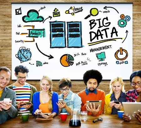 information analysis: Big Data Storage Online Technology Database Concept Stock Photo