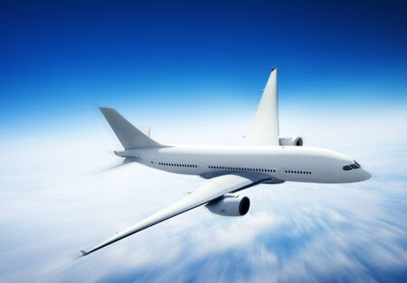 jet engine: Airplane Skyline Horizon Flight Cloud Concept Stock Photo