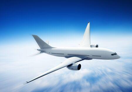 Vliegtuig Skyline Horizon Vlucht Cloud Concept