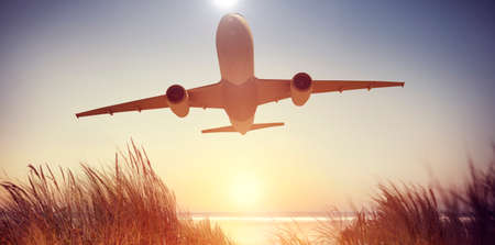 aircraft take off: Airplane Plane Flying Aircraft Transportation Travel Stock Photo