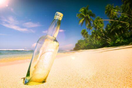 message bottle: Message Bottle Sending Sea Tropical Information Concept