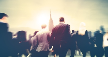 people walking: Business People Walking Commuter Travel Motion City Concept Stock Photo