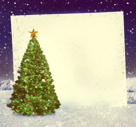 christmas tree decoration: Christmas Tree Whiteboard Decoration Snowing Concept