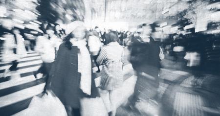 cross street: Japanese People Crowd Walking Cross Street Concept Stock Photo