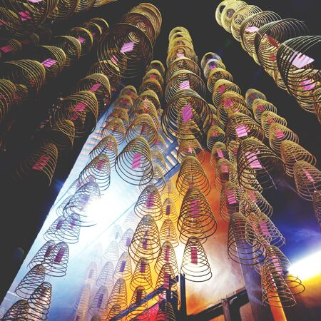 malaysia culture: Incense Coils Chinese Temple Asian Worship Concept