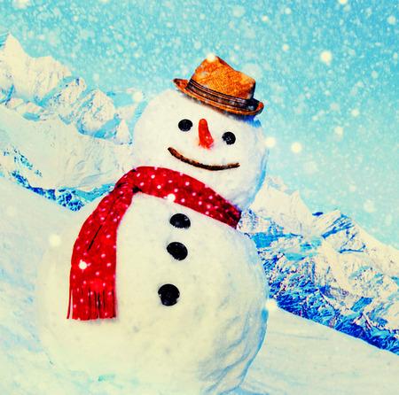 best travel destinations: Snowman Outdoors White Scenery Christmas Celebration Concept Stock Photo