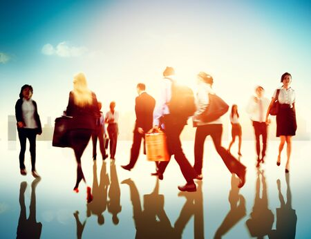 rush hour: People Commuter Walking Rush Hour Cityscape Concept