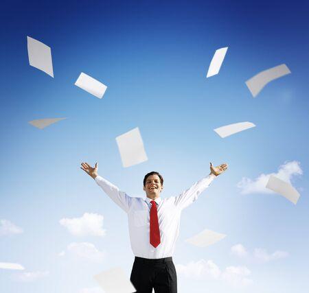 success business: Businessman Accomplishment Achievement Success Happiness Concept Stock Photo