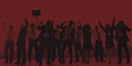 hands raised: Business People Hands Raised Rooftop City Concept