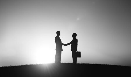 people shaking hands: Corporate Businessmen Shaking Hand Outdoors Concept