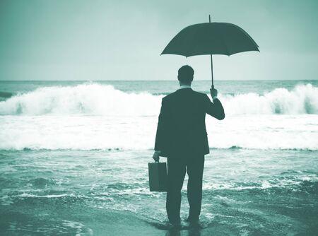 encounter: Businessman Facing Storm Encounter Crisis Concept