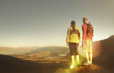 recreational climbing: Adventurists Mountain Climbing Explorer Hiking Concept