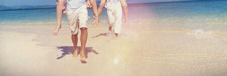 thailand beach: Couple Relaxing Beach Carrying Summer Leisure Concept Stock Photo