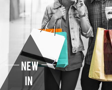lifestyle shopping: Couple Lifestyle Shopping Shopaholics Holidays Concept