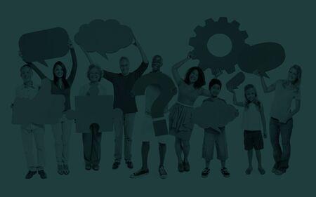 full shot: Multi-Ethnic Group People Speech Bubbles Concept Stock Photo