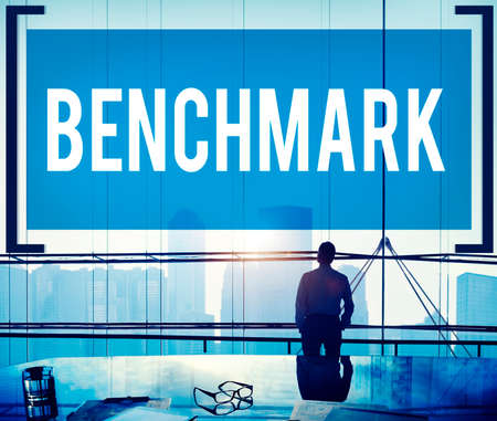 average guy: Benchmark Standard Management Improvement Benchmarking Concept Stock Photo
