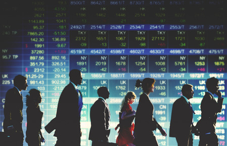 business people walking: Group of Business People Stock Market Concept Stock Photo