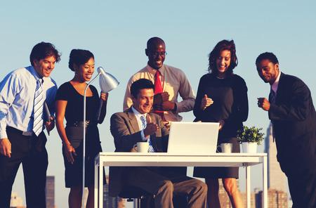people having fun: Business People Having Fun Desk Rooftop Concept