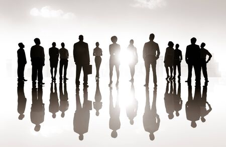 vision: Group Business People Silhoutte Looking Up Vision Concept Stock Photo