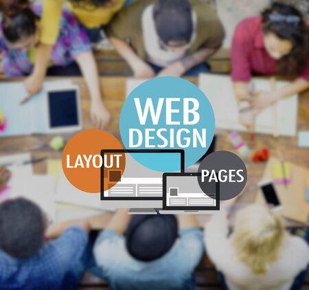 trabajo en equipo: Web Diseño Web Diseño de página WWW Concepto Conexión Foto de archivo