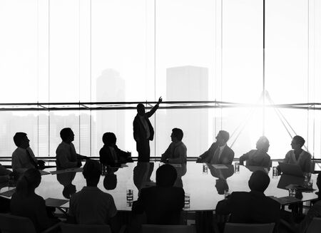 business leader: Silhouette Business People Conference Cityscape Concept Stock Photo