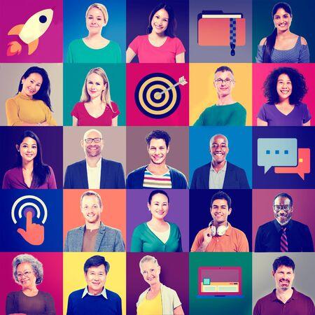 asian man laptop: Multiethnic People Colorful Smiling Portrait Technology Concept