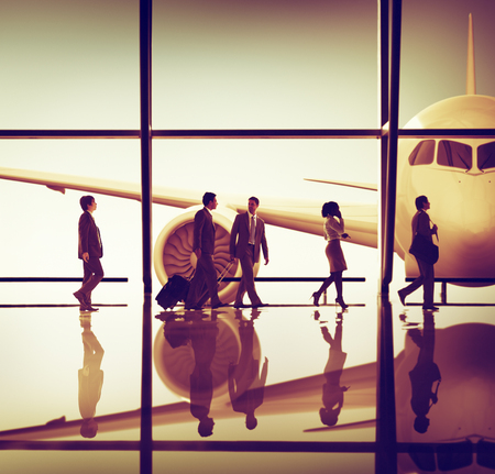Business People Traveling Airplane Airport Concept Stockfoto