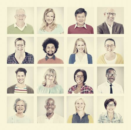 group shot: Group of Multiethnic Diverse Colorful People Stock Photo