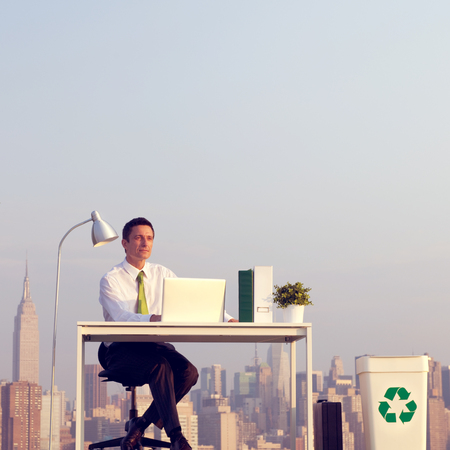 green office: Business Man Green Office Rooftop Concept