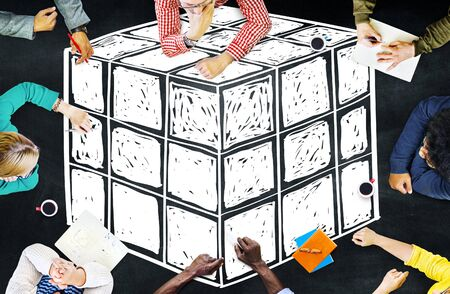 twisty: Cube Dice Dimension Logic Mind Thinking Concept Stock Photo