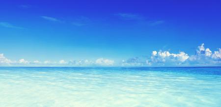 Paradise Sea Ocean Sky Blue Tropical Summer Vacation Concept Stock Photo