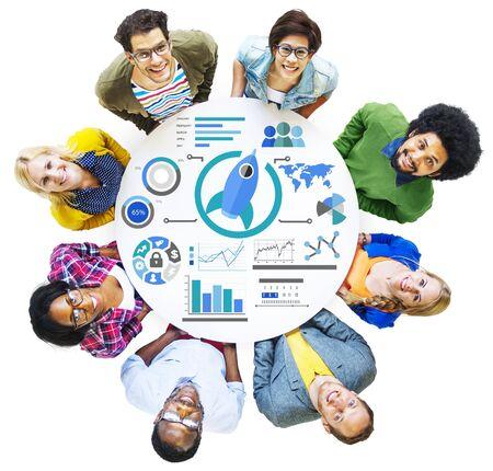 business innovation: New Business Chart Innovation Teamwork Global Business Concept Stock Photo