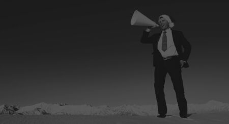 proclamation: Businessman with Megaphone on Holiday Season Concept Stock Photo